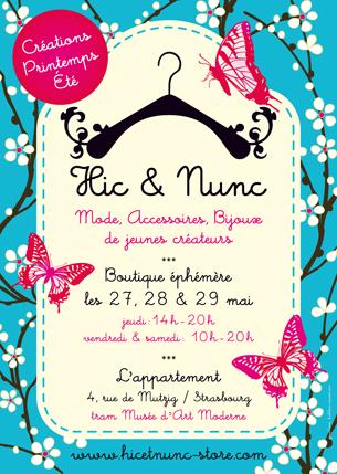Création de la charte graphique de Hic & Nunc, concept de boutique éphémère à Strasbourg.Conception du logo et des afficheResponsable de la boutique : Anne Thomahsowski
