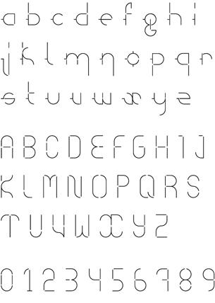Création d'un caractère typographique, l'Irondelle, à partir des «abeilles» ou «hirondelles», marques de repérage en imprimerie.Voir le caractère et son utilisation —>