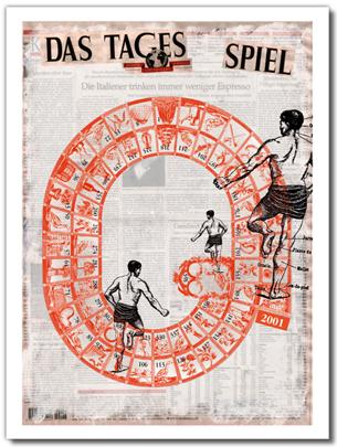 Illustration d'une carte de vœux pour le quotidien allemand, Der Tagesspiegel. Berlin, 2001. Voir la carte —>
