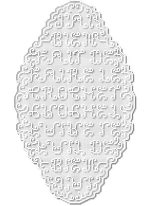 Dessin de caractères cachés dans la trame d'un ouvrage crocheté. Dimensions : 60 x 80 cmRéalisation du crochet commandé à Anne-Marie CoantiecVoir l'objet fini —>