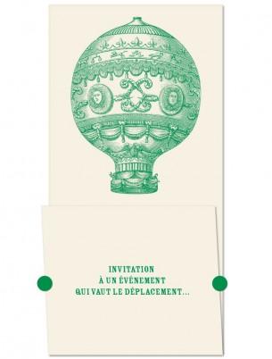 Conception de cartons d'invitation pour un anniversaire.  Voir le carton ouvert —>