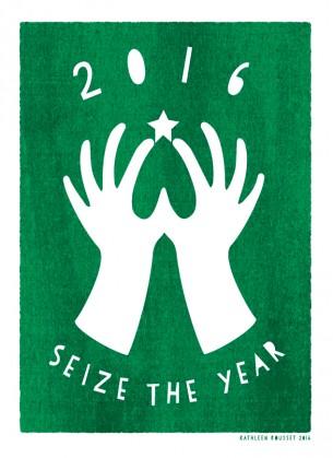 """Création et """"gocco print"""" d'une carte de vœux personnelle pour 2016.Voir la carte —>"""