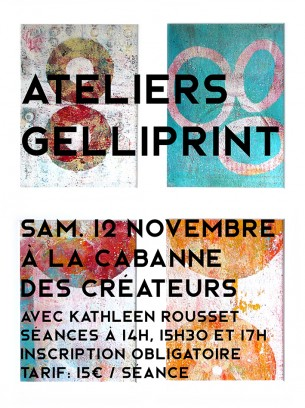 Animation d'ateliers de gelliprint, procédé d'impression monotype à la gélatine.
